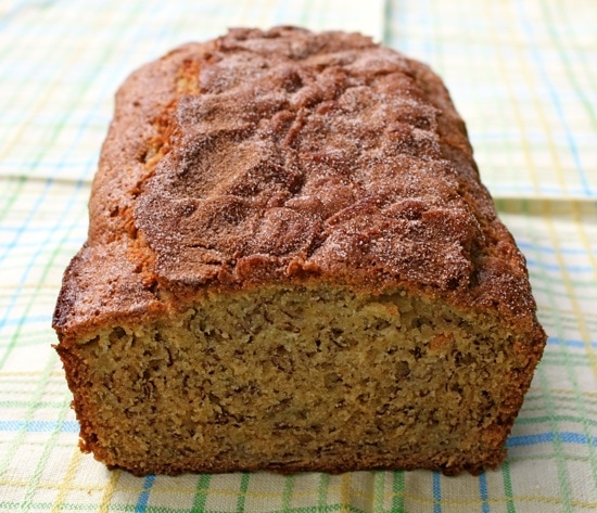 Banana Bread with a Cinnamon Sugar Topping