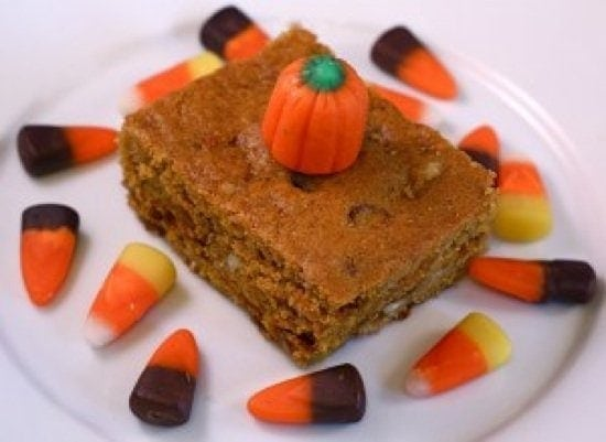 Pumpkin Blondies with Cinnamon and White Chocolate Chips