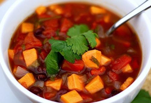 Black Bean and Sweet Potato Soup Recipe on twopeasandtheirpod.com