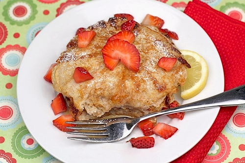 Lemon Cottage Cheese Pancakes with Strawberries | Two Peas & Their Pod