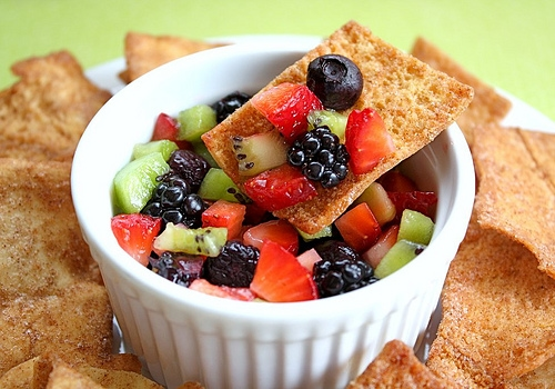 Fruit Salsa with Cinnamon Sugar Pita Chips | Two Peas & Their Pod
