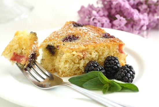 Blackberry Rhubarb Buttermilk Cake Recipe