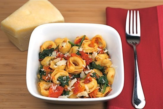 Cheese Tortellini with Spinach and Slow Roasted Tomatoes | Two Peas ...
