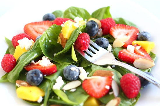 Spinach Salad with Fruit, Almonds, and Feta Cheese | Two Peas & Their ...