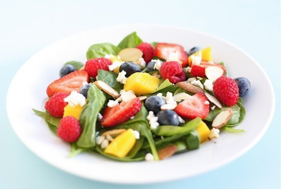 Spinach Salad With Fruit, Almonds, And Feta Cheese Recipe ...