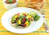 black bean and mango tostadas