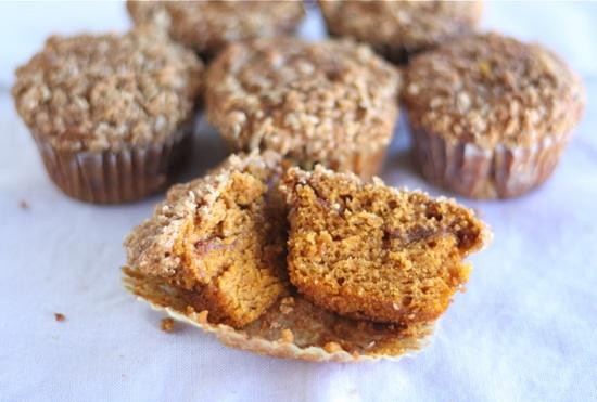 Pumpkin Cinnamon Streusel Muffin Recipe on twopeasandtheirpod.com