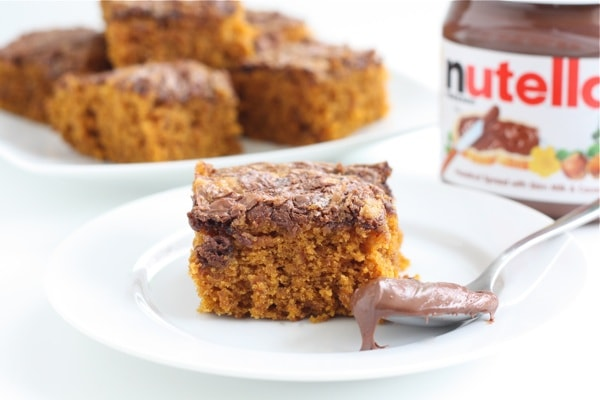 Pumpkin Nutella Snack Cake Recipe on twopeasandtheirpod.com This easy ...