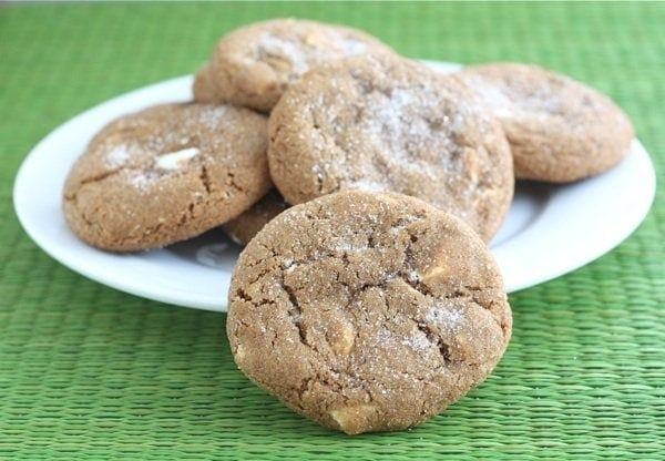 Soft Gingersnap Cookies with White Chocolate Chunks