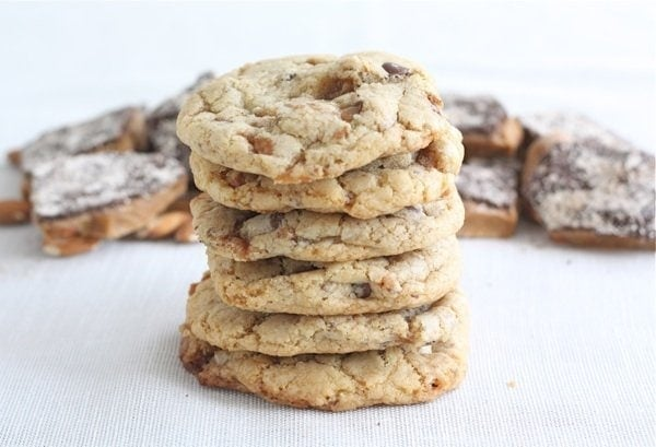 Chocolate Chip Almond Toffee Cookies | Two Peas & Their Pod