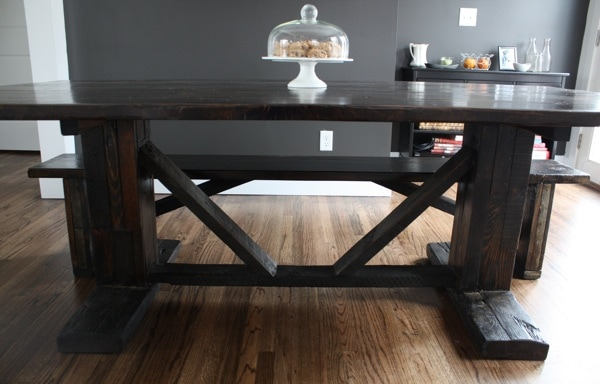 rustic farmhouse table and bench 1