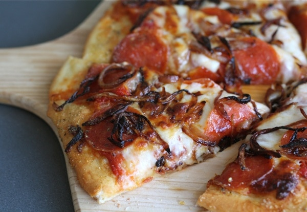 Spicy Pepperoni Pizza with Caramelized Onions | Two Peas ...