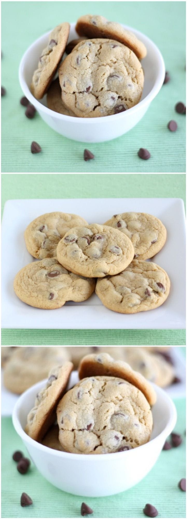 Vanilla Pudding Chocolate Chip Cookie Recipe on twopeasandtheirpod.com The BEST soft chocolate chip cookies! Everyone LOVES these cookies!