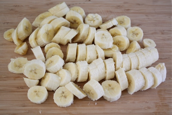sliced up four ripe bananas and put them on a large plate. I put ...