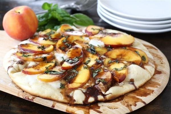 Peach, Basil, Mozzarella, & Balsamic Pizza Recipe | Two ...