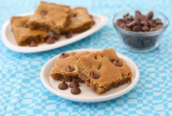 Peanut Butter Chocolate Chip Blondies Recipe   Two Peas ...
