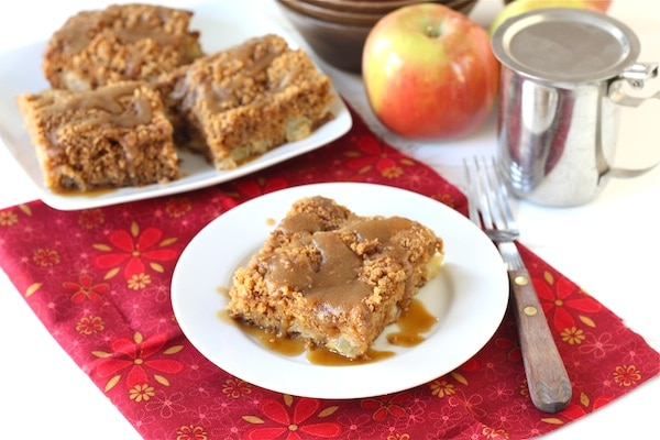 Apple Coffee Crumb Cake with Brown Sugar Glaze Recipe on twopeasandtheirpod.com