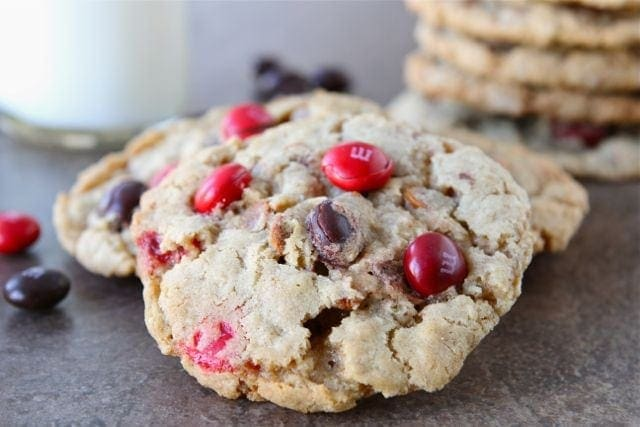 Cinnamon M&M Oatmeal Cookie Recipe | Cinnamon M&M Cookies | Two Peas ...