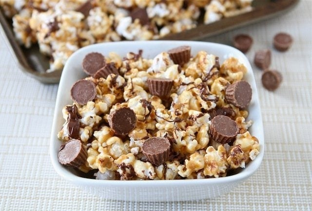 Reese's Peanut Butter Popcorn Recipe on twopeasandtheirpod.com