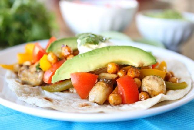 Roasted Chickpea Fajitas | Vegetarian Fajita Recipe | Two Peas & Their ...
