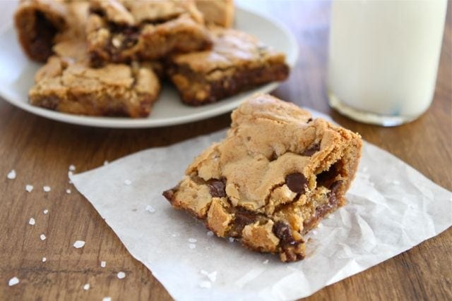 Chocolate Chip Salted Caramel Cookie Bars | Cookie Bar Recipe | Two ...