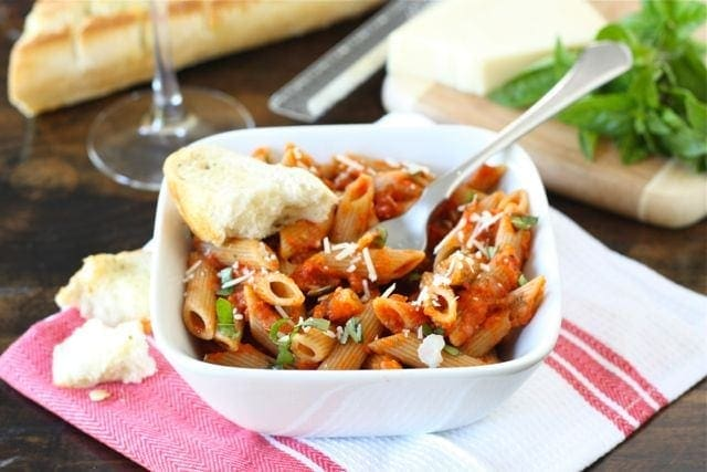 Pasta with Roasted Red Pepper Tomato Sauce Recipe | Two Peas & Their ...