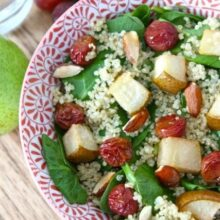 spinach-quinoa-salad-with-roasted-grapes-pears-and-almonds