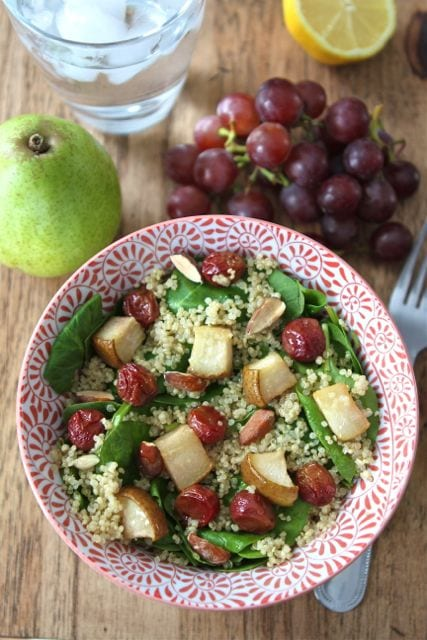 Spinach Quinoa Salad with Roasted Grapes, Pears, & Almonds | Two Peas ...