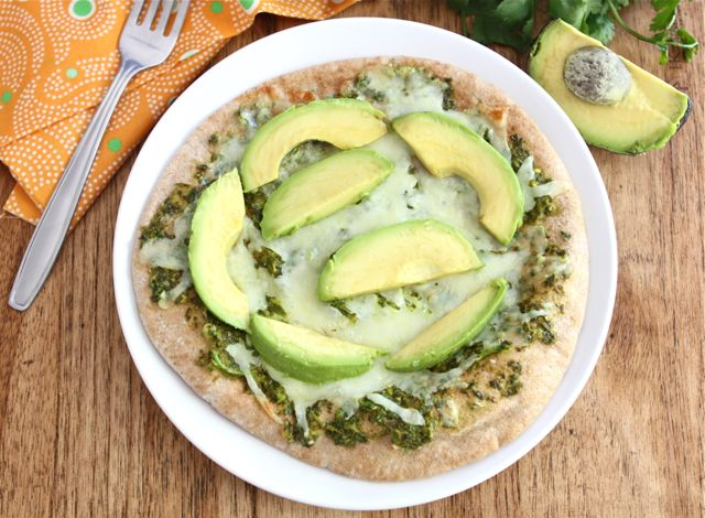 Avocado Pita Pizza with Cilantro Sauce | Pita Pizza Recipe | Two Peas ...