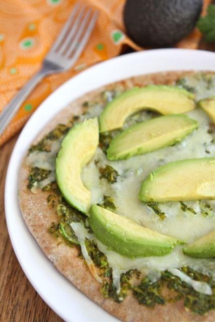 Avocado Pita Pizza with Cilantro Sauce   Pita Pizza Recipe   Two Peas ...