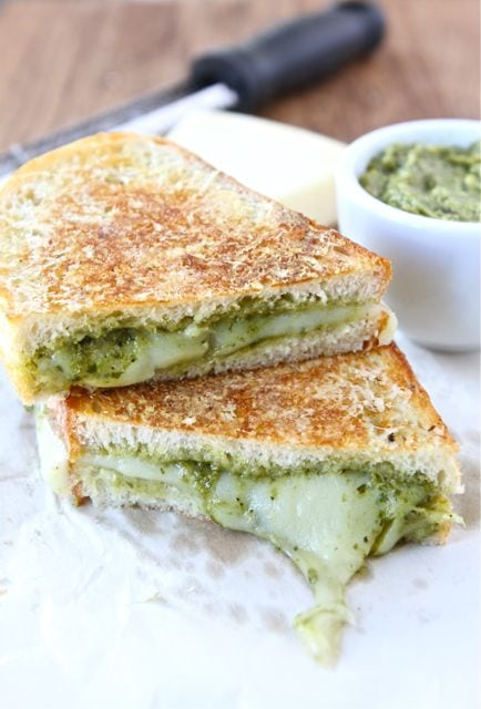 Parmesan Crusted Pesto Grilled Cheese Sandwich Recipe | Two Peas ...