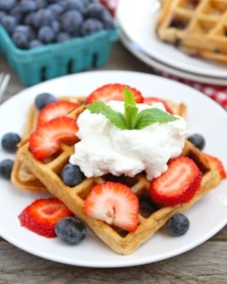 Blueberry Yogurt Waffles (Two Peas and Their Pod)