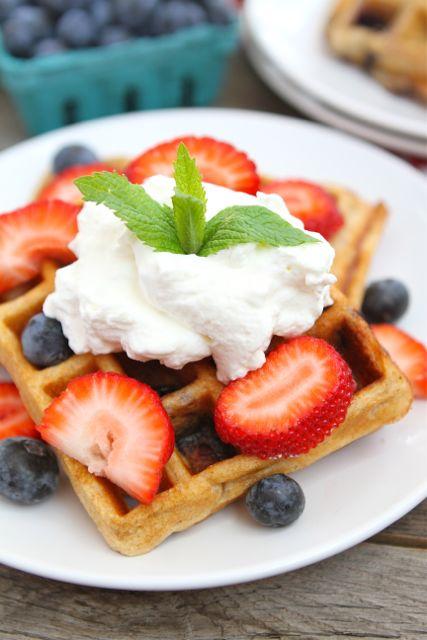Blueberry Yogurt Waffles | Blueberry Waffle Recipe | Two Peas & Their ...