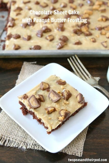 Chocolate Sheet Cake with Peanut Butter Frosting | Two Peas and Their ...