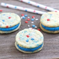 Red, White & Blue Funfetti Sandwich Cookies-Two Peas and Their Pod