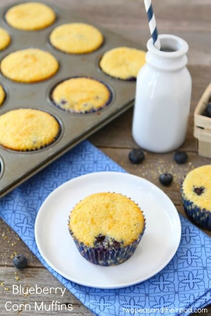 Blueberry Corn Muffin Recipe | Corn Muffin Recipe | Two Peas & Their ...