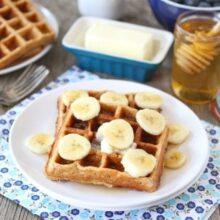 Brown Butter Banana Waffles from www.twopeasandtheirpod.com