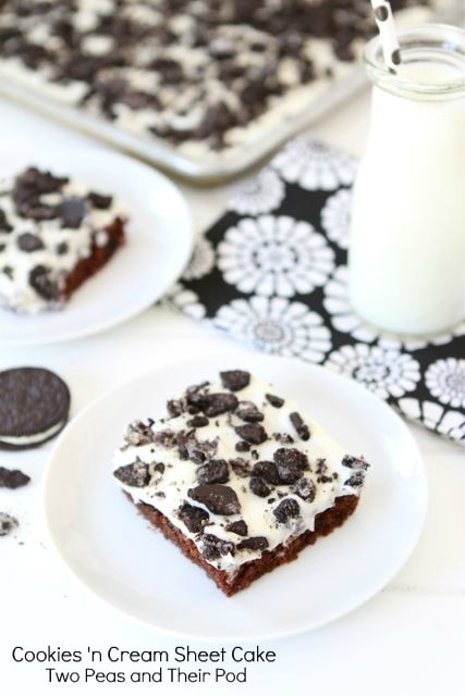 Cookies 'n Cream Sheet Cake | Chocolate Sheet Cake Recipe | Two Peas ...