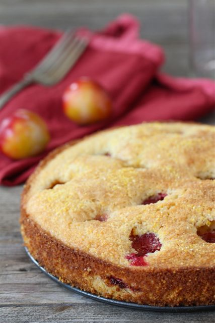 Plum Cornmeal Cake Recipe | Plum Cake Recipe | Two Peas & Their Pod