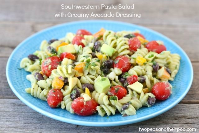 Southwestern Pasta Salad with Creamy Avocado Dressing | Two Peas and ...