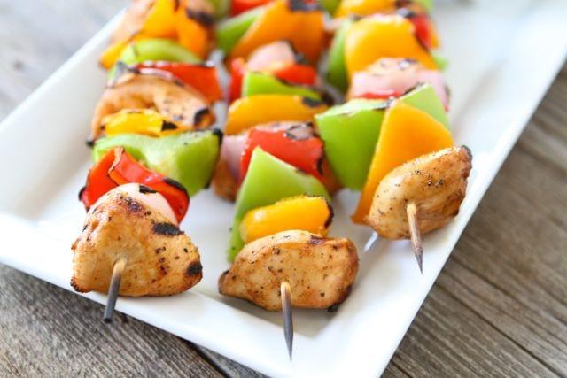 Grilled Chicken Fajita Kabobs | Chicken Kabob Recipe | Two ...