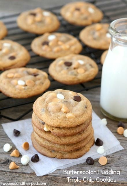 Butterscotch Pudding Triple Chip Cookies | Pudding Cookie Recipe | Two ...