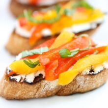 Goat Cheese & Roasted Pepper Crostini | Two Peas and Their Pod (www.twopeasandtheirpod.com) #recipe
