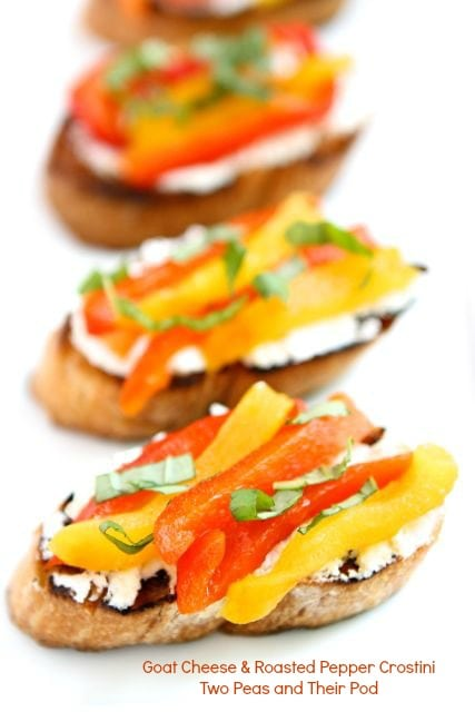 Goat Cheese & Roasted Pepper Crostini Recipe | Crostini | Two Peas ...