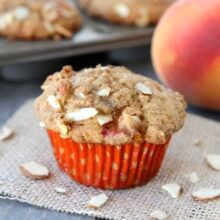 Peach Almond Muffins from www.twopeasandtheirpod.com #recipe