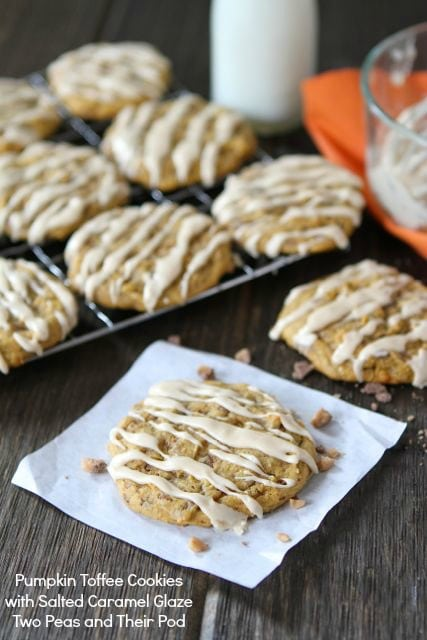 Pumpkin Toffee Cookies with Salted Caramel Glaze Recipe | Two Peas ...