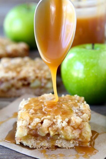 Salted Caramel Apple Crumb Bars Recipe — Dishmaps
