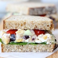 Smashed Chickpea Greek Salad Sandwich (www.twopeasandtheirpod.com) #recipe #vegetarian