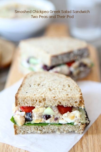 Smashed Chickpea Greek Salad Sandwich | Two Peas and Their Pod (www ...