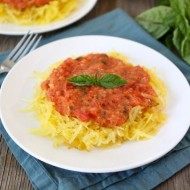 Baked Spaghetti Squash with Creamy Roasted Red Pepper Sauce from www.twopeasandtheirpod.com #recipe #glutenfree #vegetarian